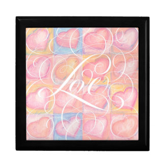 Swirly Girly Pink Calligraphy Love Heart Lettering Large Square Gift Box