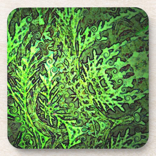 Swirly Green Conifer Abstract Art Beverage Coasters