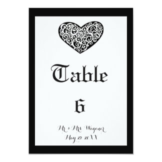 Swirly Heart Wedding - Table Number Card