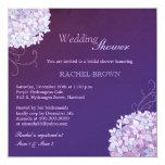 Swirly Hydrangea Deep Purple Wedding Shower 13 Cm X 13 Cm Square Invitation Card