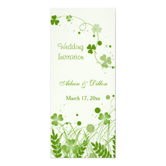 Swirly Irish shamrock in a meadow Wedding Card
