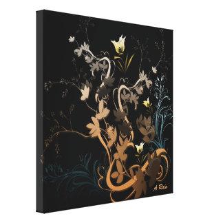 Swirly leaf Flowers Stretched Canvas Prints