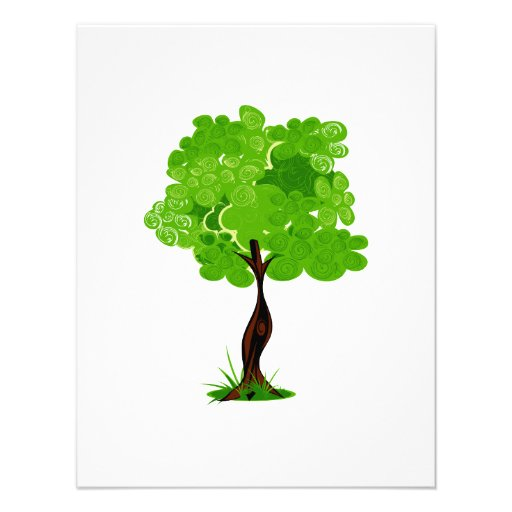 Swirly leaves green eco tree design.png custom invitation