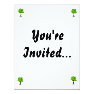 """Swirly leaves green eco tree design.png 4.25"""" x 5.5"""" invitation card"""
