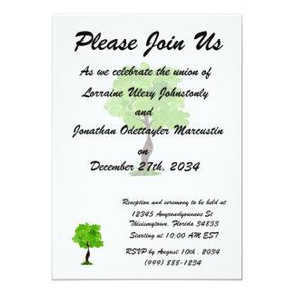 Swirly leaves green eco tree design.png 13 cm x 18 cm invitation card