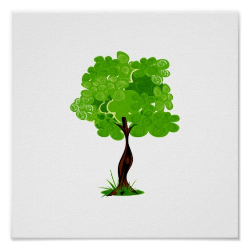 Swirly leaves green eco tree design.png poster