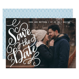 Swirly Lettered Save the Date Photo Card