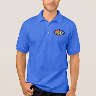 Swirly Line Peace Sign Polo Shirt