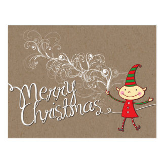 Swirly Magical Christmas Cute Elf Holiday Postcard