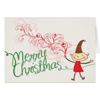 Swirly Magical Cute Christmas Elf Holiday Card