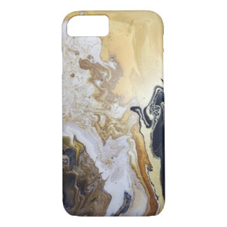 Swirly Marble Paint in Golds, Silvers, and Black iPhone 8/7 Case