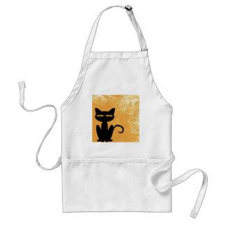 Swirly Orange Black Cat Apron