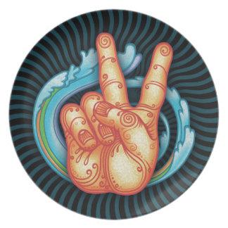 Swirly Peace Hand Plate