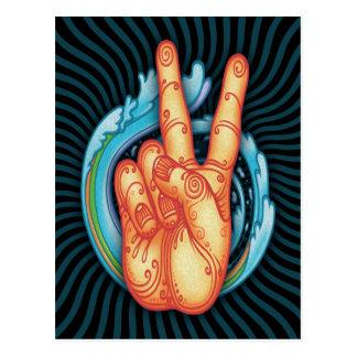 Swirly Peace Hand Postcard