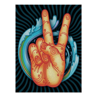 Swirly Peace Hand Poster