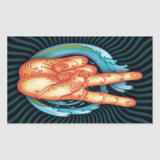 Swirly Peace Hand Rectangular Sticker