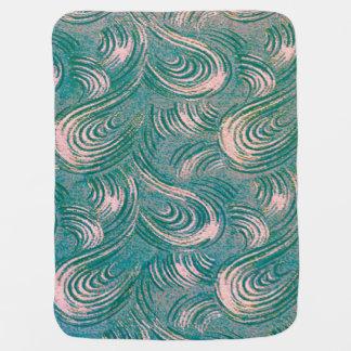 Swirly Peach & Teal Green Buggy Blankets