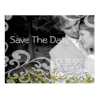 Swirly Photo Save The Date Postcard