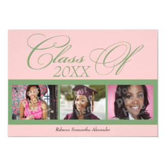 Swirly Pink/Green 3 Photo Graduation Announcement