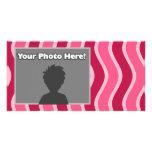 Swirly Pink Striped Personalized Photo Card