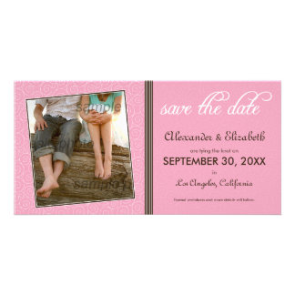 Swirly-Q Pink/Brown Save the Date Announcement Photo Greeting Card