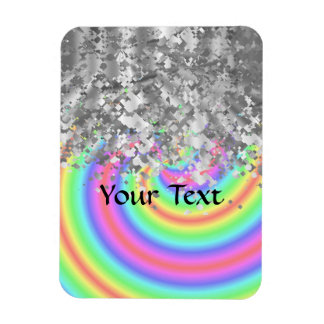 Swirly rainbow and faux glitter rectangular magnets