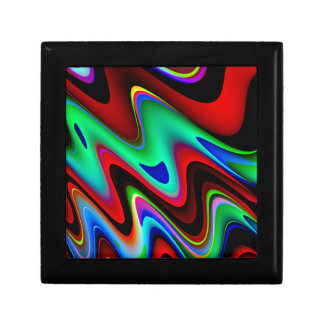 Swirly Red Black Blue Abstract Small Square Gift Box