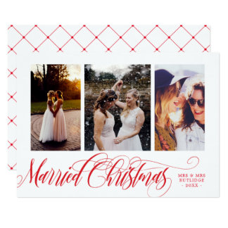 Swirly Red Married Christmas Photo Collage Card