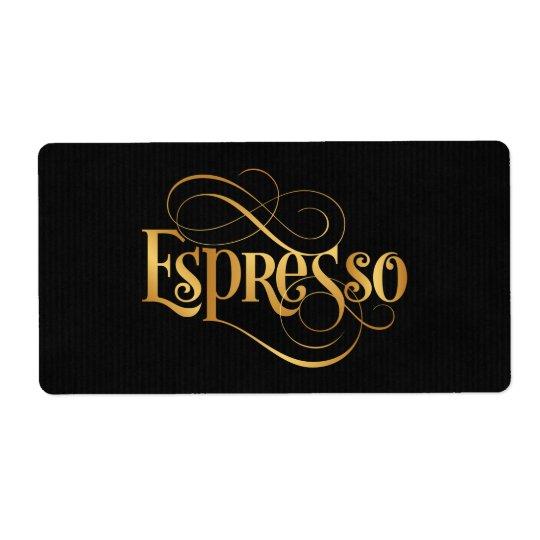 Swirly Script Calligraphy Espresso Gold on Black Shipping Label