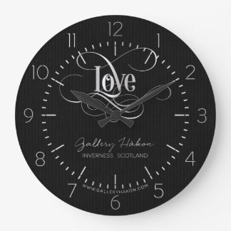 Swirly Script Calligraphy Love Silver on Black Large Clock