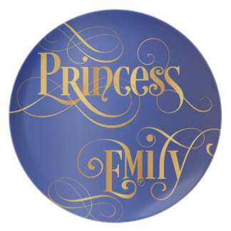 Swirly Script Calligraphy Princess Emily Gold Blue Plate