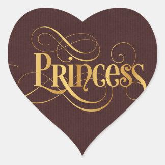 Swirly Script Calligraphy Princess Gold Burgundy Heart Sticker