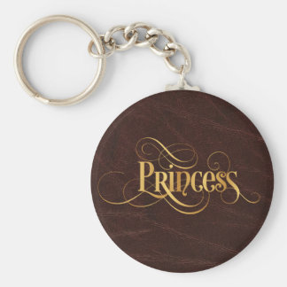 Swirly Script Calligraphy Princess Gold on Leather Key Ring