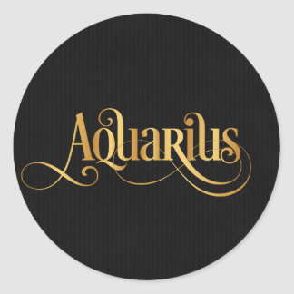 Swirly Script Zodiac Sign Aquarius Gold on Black Round Sticker