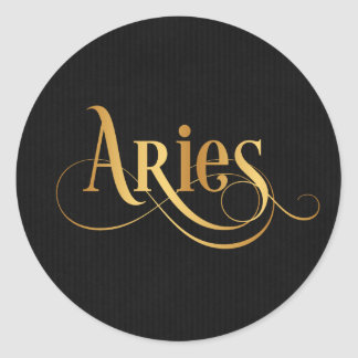 Swirly Script Zodiac Sign Aries Gold on Black Classic Round Sticker