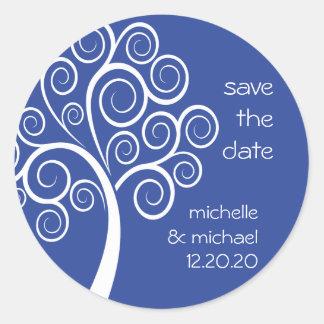 Swirly Tree Save The Date Sticker (Navy Blue)