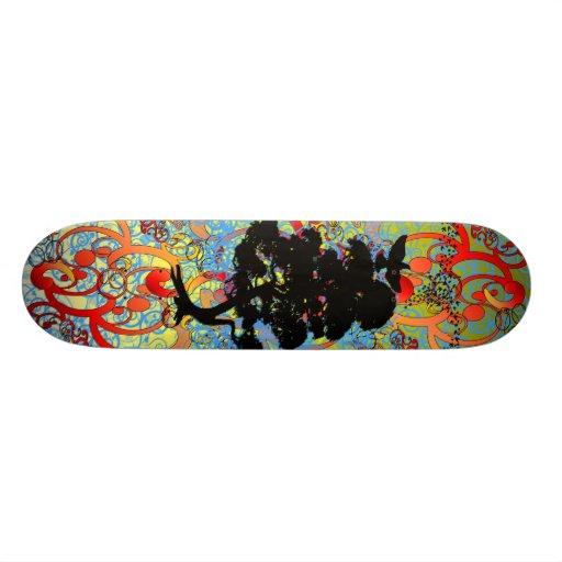 Swirly Tree with Birds Custom Skateboard
