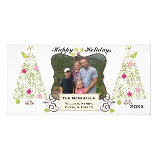 Swirly Trees Custom Holiday Photo Card