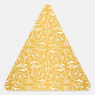Swirly Vines in Yellow Pattern Triangle Sticker