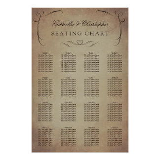 Swirly Vintage | Wedding Seating Chart 16 Table Poster