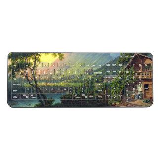 Swiss Alp Farmhouse River Family Wireless Keyboard
