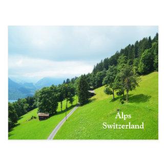 Swiss alps in summer postcard