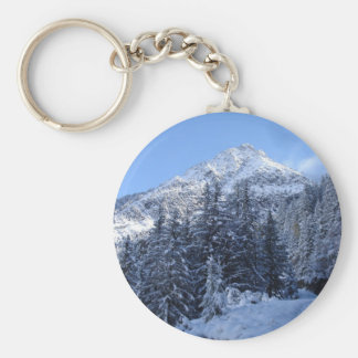 Swiss Alps in Winter Basic Round Button Key Ring
