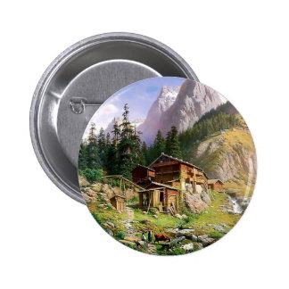 Swiss Alps Log Cabin painting Pin