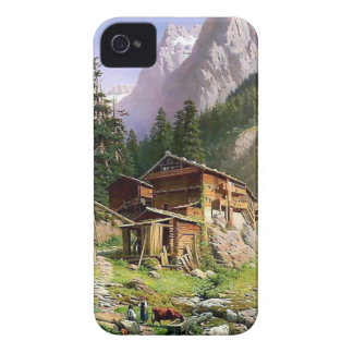 Swiss Alps Log Cabin painting iPhone 4 Case-Mate Case