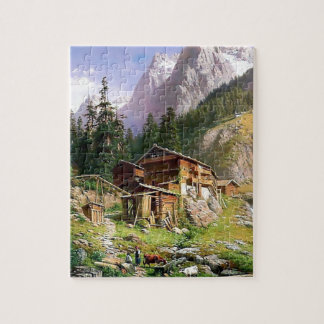 Swiss Alps Log Cabin painting Jigsaw Puzzles