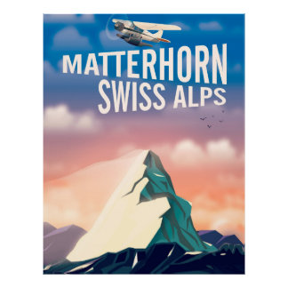 Swiss Alps Matterhorn travel poster