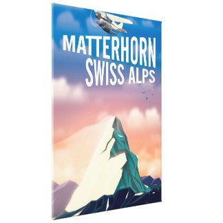 Swiss Alps Matterhorn travel poster Canvas Print