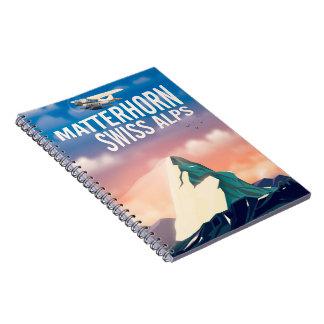 Swiss Alps Matterhorn travel poster Notebooks