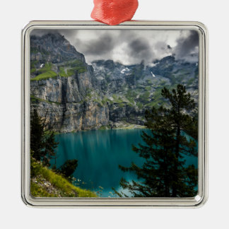 Swiss Alps - Oeschinensee - Switzerland Silver-Colored Square Decoration